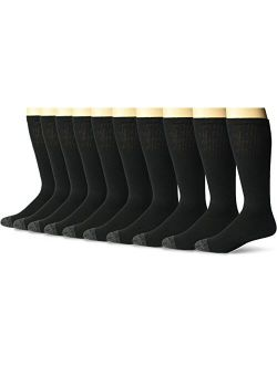 Men's Cotton Work Gear Tube Socks   Cushioned, Wicking, Durable   10 Pack