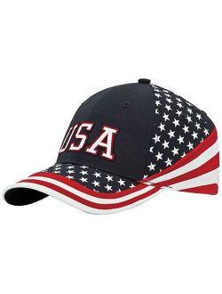 MG Washed Cotton Twill Stars & Stripes USA Ball Cap Hat USA Flag Cap