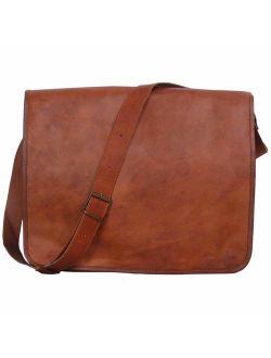 Komal's Passion Leather Vintage Mens 16 Inch Leather Laptop Messenger Pro Satchel Men's Bag