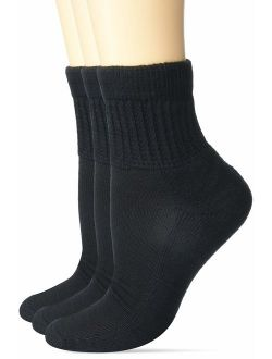 MediPEDS Women's Diabetic Quarter Socks with Coolmax and Non-Binding Funnel Top, 2 Pairs