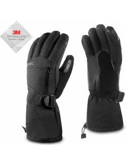 Acokac Men Waterproof Warmest Winter Gloves Touchscreen Snow Snowboard Ski Gloves, 3M-Thinsulate Thermal Insulation Snowboarding Snowmobile Cold Weather Gloves(Black)
