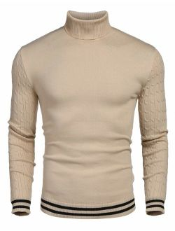 Men's Basic Ribbed Thermal Knitted Pullover Slim Fit Turtleneck Sweater