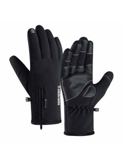 Jeniulet 100% Waterproof Winter Gloves -30 Warm Windproof All Fingers Touch Screen Gloves for Men Skiing and Outdoor Work