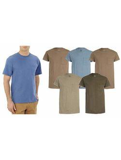 Men's Pocket T-shirts 5-pack Assorted Colors. Sizes- M-xl