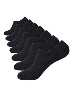 No Show Socks Thick Cushion 7 Pairs Non Slip Low Cut Invisible Socks Men Boat Liner 6-10/10-12/12-14
