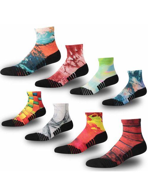 NIcool Men's Running Printing Anti-Blister Moisture Wicking Sports Cushioned Ankle Socks