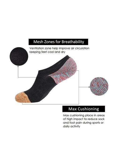 JOYNEE Men's 6 Pack Casual Cushion Anti-Slid Cotton No Show Socks with Silicone