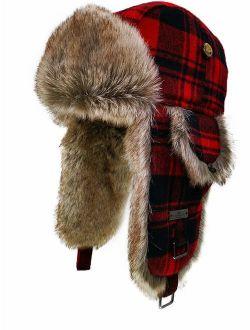 FUR WINTER Wool Blend Buffalo Check Faux Fur Aviator Outdoor Trapper Trooper Pilot Ski Hat