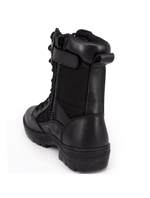 WIDEWAY Men's 8'' Inch Military Tactical Boots Full Grain Leather Police Duty Water Resistant Boots with Side Zipper