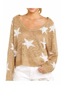 COCOLEGGINGS Women's Boat V Neck Long Sleeve Star Pullover Sweater Tunic Tops