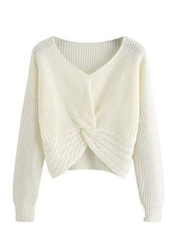 MAKEMECHIC Women's Casual V Neck Sweater Long Sleeve Knot Front Crop Top Pullovers
