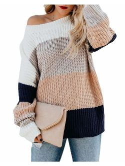cordat Womens Casual Crew Neck Color Block Sweater Long Sleeve Knit Pullover Jumper Tops