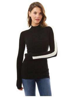Women Mock Neck Raglan Long Sleeve Sweater