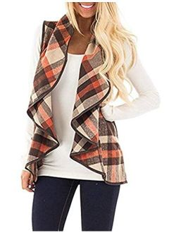 Kikibell Womens Casual Lapel Sleeveless Open Front Plaid Vest Cardigan Coat with Pockets