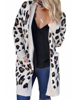 Mahrokh Women's Leopard Print Cardigan Open Front Long Sleeve Knit Sweater Winter Fall Outwear with Pockets