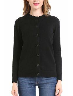 B BIMOZI Women Thick Button Down Cardigan Sweaters Crew Neck Medium Weight Long Sleeve