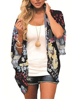 Women's Floral Kimono Cardigan Summer Loose Chiffon Beach Open Front Cover Up Tops