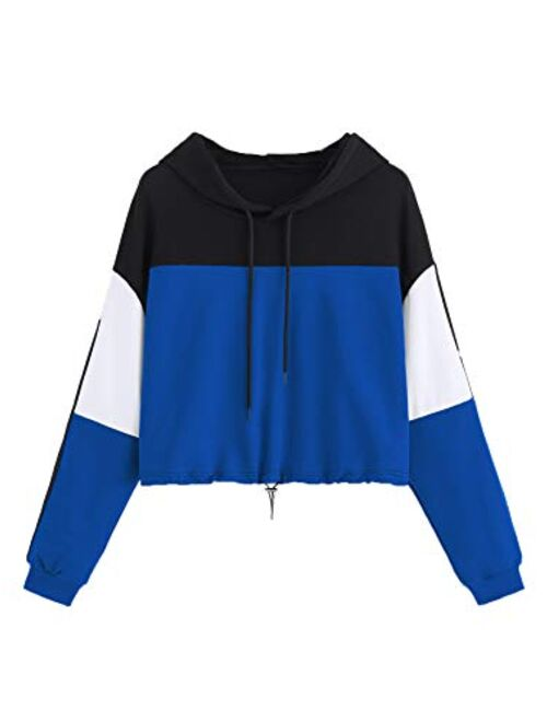 SweatyRocks Women's Casual Long Sleeve Colorblock Pullover Sweatshirt Crop Top