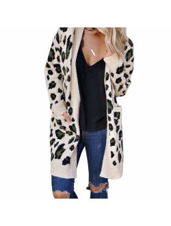 Exlura Women's Cardigans with Pockets Oversized Loose Leopard Printed Open Front Knitted Kimono Long Sleeve Sweater