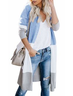 AM CLOTHES Cardigan Sweaters for Women Long Sleeve Open Front Fall Knit Duster Coats
