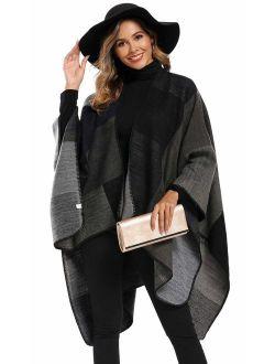 Epsion Women's Color Block Shawl Wrap Plus Size Cardigan Poncho Cape Open Front Long Winter Sweater Coat