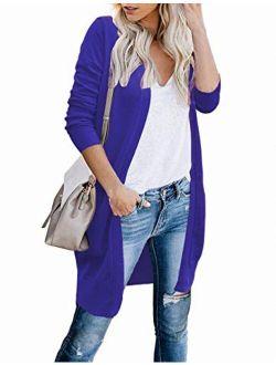 CPOKRTWSO Women Lightweight Open Long Knit Cardigans Shrug Sweater with Pockets
