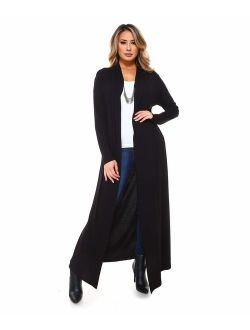 Isaac Liev Women's Super Long Flowy Floor Length Maxi Cardigan Duster - Made in The USA