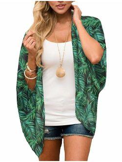 Women's Flowy Chiffon Kimono Cardigan Top Boho Floral Beach Cover Up Casual Loose Shirt