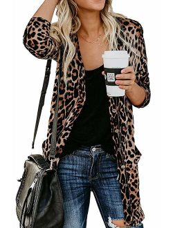 Halife Women's Leopard Printed Cardigans Shirt Lightweight Button Down Cardigan Coat with Pockets