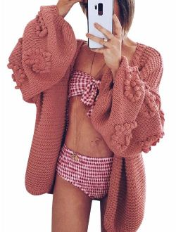 Simplee Women's Oversized Lantern Sleeve Loose Cozy Cable Knit Cardigan Sweaters