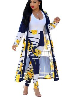 Womens 2 Piece Outfits Strips Floral Print Open Front Cardigan and Pants Set