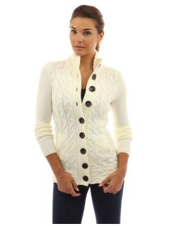 Women Mock Neck Cable Knit Cardigan