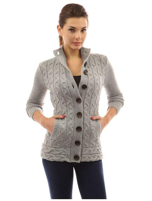 PattyBoutik Women Mock Neck Cable Knit Cardigan