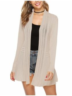 Womens Casual Knitted Long Sleeve Lightweight Open Front Cardigan Sweater