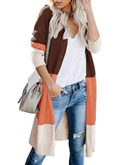Womens Open Front Long Sweater Cardigans Boho Long Sleeve Color Block Knit Lightweight Kimono Duster Coats