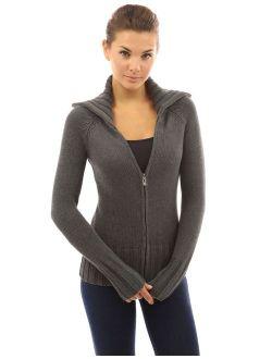 Women Collar Full Zip Cable Knit Sweater Cardigan