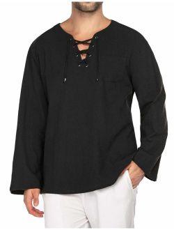 Mens Fashion T Shirt Cotton Linen Tee Hippie Shirts V-neck Yoga Top
