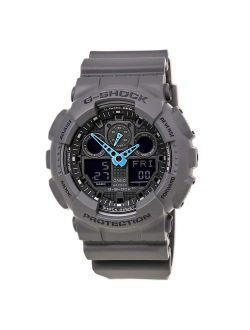 Men's G-shock Analog-digital Watch Ga-100c-8acr, Grey/neon Blue