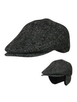 Folie Co. 100% Wool Herringbone Winter Ivy Cabbie Hat w/Fleece Earflaps - Driving Hat