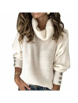 Sovelen Women's Sweaters Turtle Cowl Neck Oversized Long Sleeve Button Loose Pullover Knit Sweater Tops