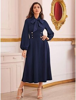 Tie Neck Double Breasted Detail Lantern Sleeve Dress