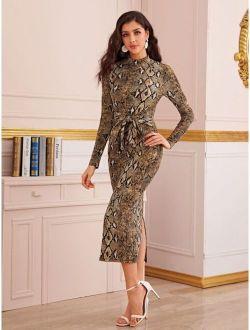 Mock-Neck Split Back Tie Front Snakeskin Print Dress