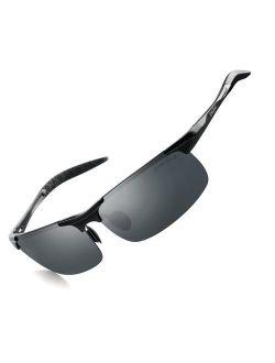grey jack Lightweight Al-Mg Alloy Metal Half-Frame Polarized Sports Sunglasses for Men Women