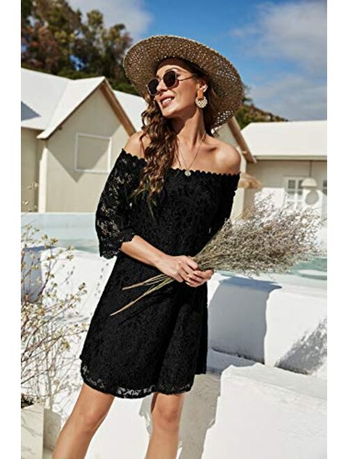 OURS Off Shoulder 3/4 Sleeve Floral Lace Shift Loose Mini Dress