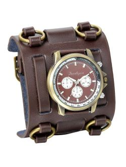 JewelryWe Black Brown Hip-hop Gothic Punk Style Men Watch Wide Leather Fashion Cuff Wristwatch for Xmas Christmas(5 Colors)
