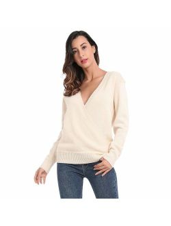 JTANIB Women's Deep V-Neck Sexy Knitted Sweaters Long Sleeve Wrap Front Loose Pullover Jumper Tops
