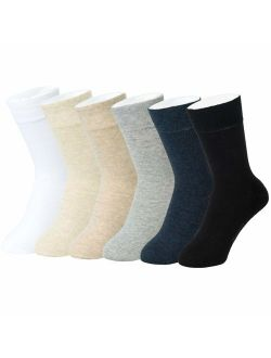 Feetalk 98% Cotton 6 Pack Lightweight Solid Dress Crew Socks for Business and Casual,Men's and Women's Socks