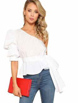 Women's One Shoulder Short Puff Sleeve Self Belted Solid Blouse Top