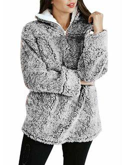 MIROL Women's Long Sleeve 1/4 Zipper Pullover Sherpa Fleece Winter Oversized Outwear Sweatshirt Coat with Pockets