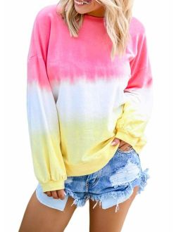 Dresswel Women Crewneck Colorblock Tie Dye Shirts Long Sleeve Pullover Sweatshirt Tops S-XXL